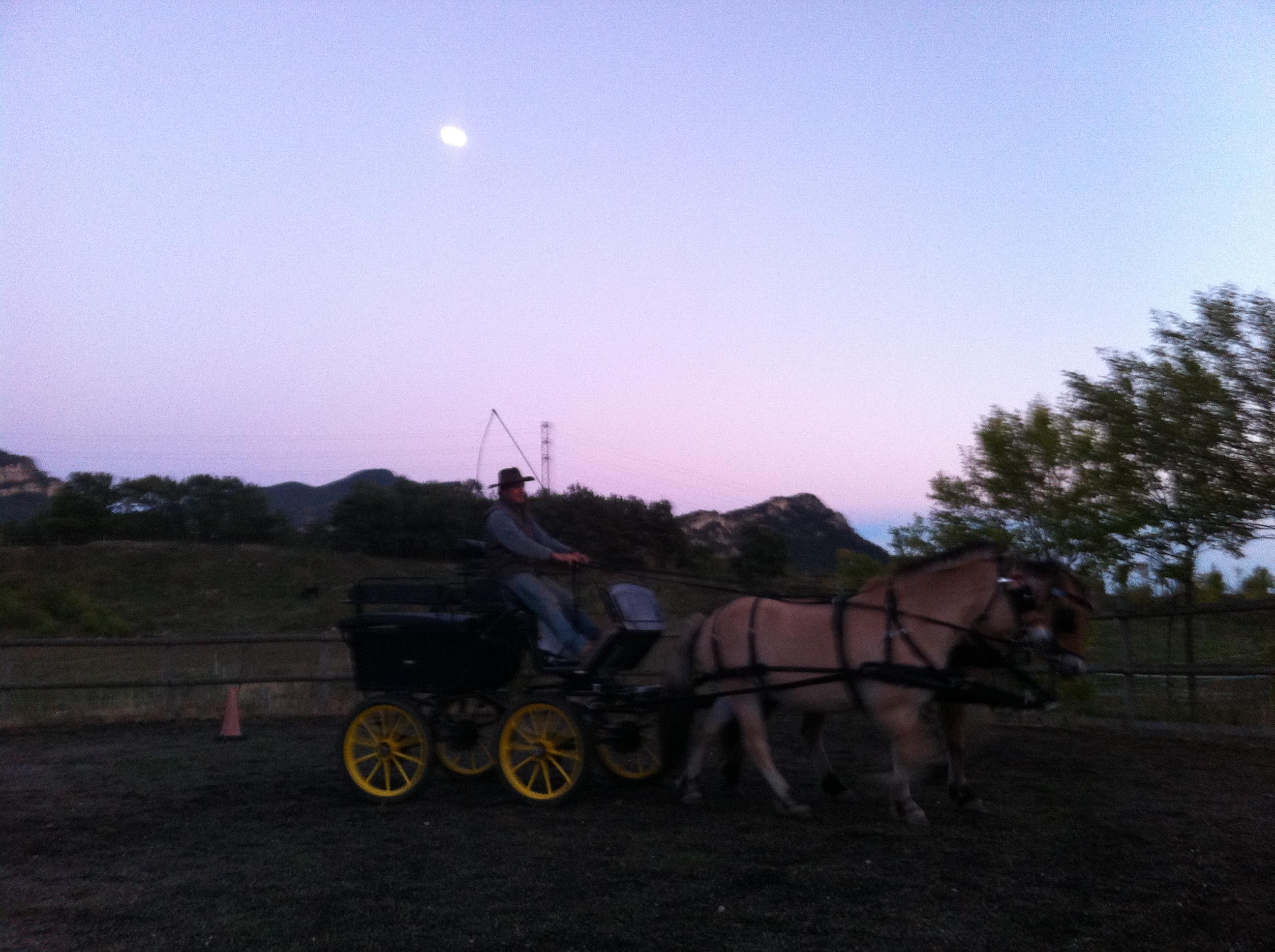 """Un parell d'hores provant guarnicions, posant la llança de tronc al cotxe, unes voltes suficientment satisfactòries a la pista, i en Victor diu: """"otra vuelta, que se vea la luna"""""""